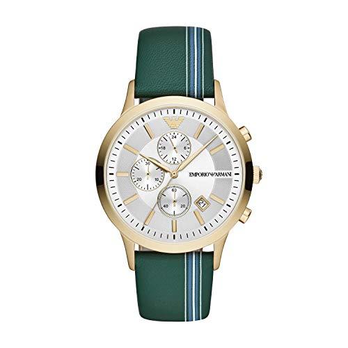 Emporio Armani Herren Chronograph Quarz Uhr mit Leder Armband AR11233