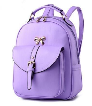 HQYSS Borse donna Coreana PU cuoio Casual Female Student zaino spalle , spell pink purple taro