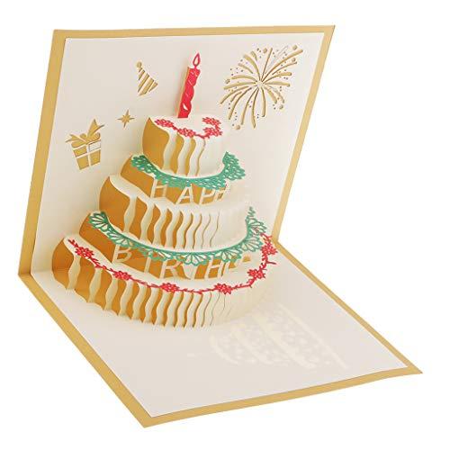 Sharplace 1 Pc 3D POP UP Karte Grußkarten Kuchen Pop Up Geburtstag Karten Für Damen Frauen