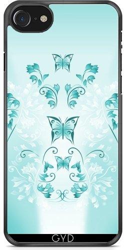Leder Flip Case Tasche Hülle für Apple iPhone 4/4S - Türkis-Blumen Schmetterling by Nina Baydur Plastique Rigide