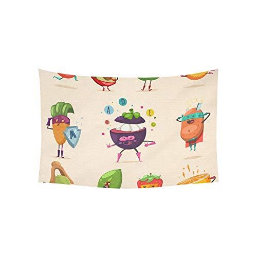 JOCHUAN Tapisserie Lustige Obst Gemüse Superheld Kostüm Tapisserien Wandbehang Blume Psychedelic Tapisserie Wandbehang Indischen Wohnheim Dekor Für Wohnzimmer Schlafzimmer 60 X 40 Zoll