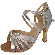 Silencio @ satén de las mujeres del salón de baile zapatos de baile de cuero sintético latino/zapatos de jazz/Swing/Salsa sandalias rojo/plata, plata, US6.5-7 / EU37 / UK4.5-5 / CN37