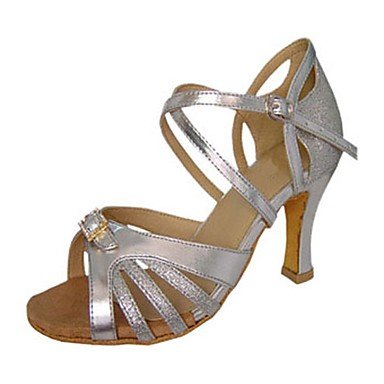 XIAMUO Anpassbare Women's Ballroom Dance Schuhe Satin Kunstleder Latin/Jazz/Swing Salsa Schuhe/Sandalen Rot/Silber Silber