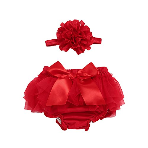 YWLINK Baby MäDchen Karneval Tutu Rock+Stirnband Set Spitze Bowknot Chiffon Slips Diaper Cover (Rot,L)