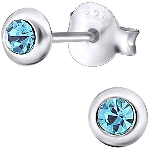 Ohrstecker 925 Sterling Silber Glitzer-Kristalle 4 mm blau Mädchen Ohrringe im Geschenk-Etui Kinderschmuck (Echt Silber Glitzer Tragen)
