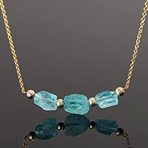 Drei rohe Apatite Kette Silber Gold Filled
