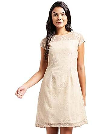 81e8803c5e5 ... Zink London Beige Slef Design with Back Cut Out A-Line Dress for Women