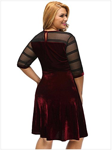 Yueyuefa Robe de balayage en velours noir wine red