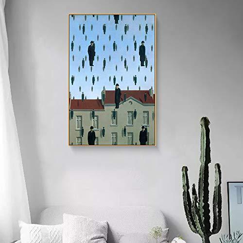 yhyxll Magritte Künstler Morden Arts Wandmalerei Auf Leinwand Ölgemälde Für Wandkunst Bilder aquarell leinwand wandkunst Bild D 60X80 cm