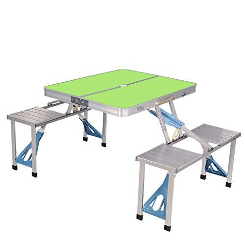 NJ Table Pliante- Table et Chaise Se Pliantes extérieures portatives multifonctionnelles, Tableau en Une pièce d'alliage d'aluminium (Couleur : Green, Taille : 85x67x66cm)