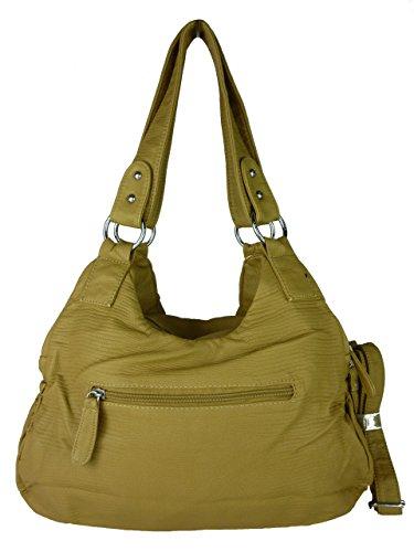 KUMIXI 7114 geräumige Damen Handtasche, Tasche 'LENI', versch. Farben 35x25x12 beige aprikot