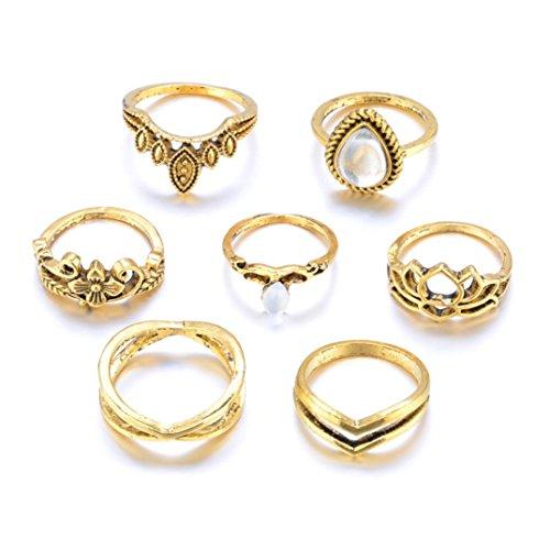 Ringe Für Damen Ring Damen Der Herr Der Ringe DAY.LIN 7pcs / Set Frauen Bohemian Vintage Silber Stack Ringe über Knöchel Blau Ringe Set (Gold)