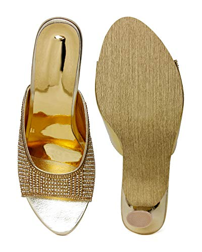 BELLA TOES Women Girls Female Ladies Bridal Sandal Heels Bridal Footwear for Parties Festivals/Casual Wear with Diamond Work_(1715-GOLDEN-36)