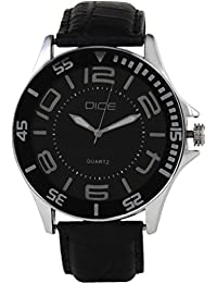 "Dice""Doubler-3005"" Watch for Men with Black Color Dial, Stainless Steel Case and Woven Strap"