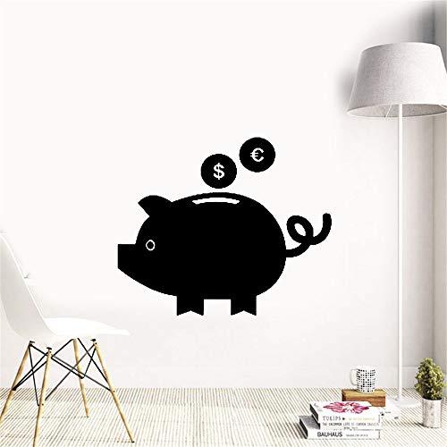 wandaufkleber 3d Schwein-Sparschwein-Dollar-Euroohr-Augen-Schwanz -