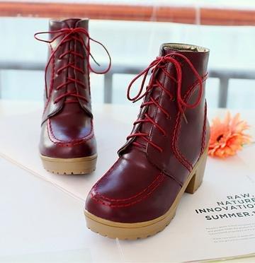 &ZHOU femmina adulti 'Boots autunno e l'inverno stivali brevi Martin stivali Cavaliere stivali A31 wine red