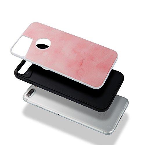 Étui en marbre iPhone 8 Plus, Coque iPhone 7 Plus,Lifetrut [Modèle de marbre] Pare-chocs Arrière Doux 2 en 1 Housse en Silicone en Caoutchouc TPU pour iPhone 8 Plus/ iPhone 7 Plus [Orange] E202-Rose