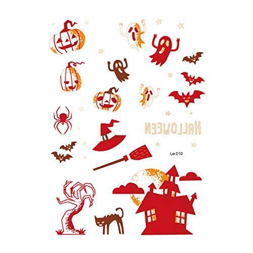 1 STÜCK NEUE Wasserdichte Halloween Decor Luminous Temporäre Tätowierung Aufkleber Gesicht Aufkleber Persönlichkeit Partei Maskerade Tattoo hülse, Le-010, spanien