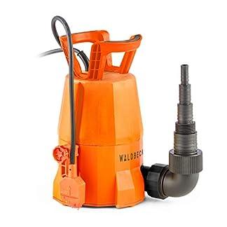 Waldbeck Nemesis T400S Bomba – Bomba Sumergible , Bomba para el jardín , 400 W , 7000 litros/h , Potente , Altura de extracción de 7 m , Incluye Adaptador para Distintas mangueras , 3,6 kg , Naranja