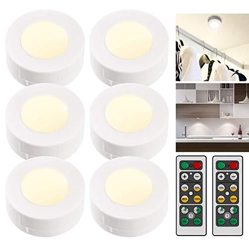 iKALULA Schrankleuchten LED mit Fernbedienung, Schrankbeleuchtung LED Nachtlicht Dimmbar LED Unterbauleuchten Wandbeleuchtung Schranklicht Schrank Lichter - Weiß, 6 Stück (Nicht Enthalten Batterie) - Sechs Lampen Bad Möbel