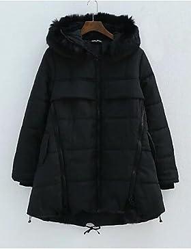 TT & ShangYi relleno de mujer, Abrigo Simple Casual liso algodón algodón manga larga, Gris, XXXL