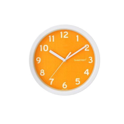 """Decowall DSH-S22OR 8.8\"""" Nicht-tickende Stille Modern Wanduhr DIY für Wohnzimmer Küche Büro (22.5cm, Orange)"""