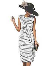 ea360bc74 Vestido De Cóctel Lunares Sin Mangas Elegantes Vintage Verano Lápiz Vestidos  De Fiesta Mujer Cortos