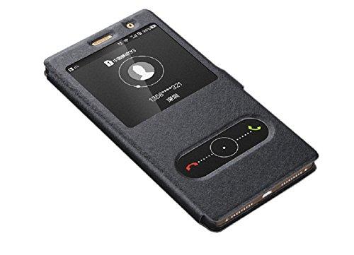 Deesos Huawei P9 Plus Hülle Flip Schlank Tasche Schutzhülle Dual Fenster Stand Funktion Magnetverschluss Prämie PU Leder Hülle für Huawei P9 Plus Schwarz