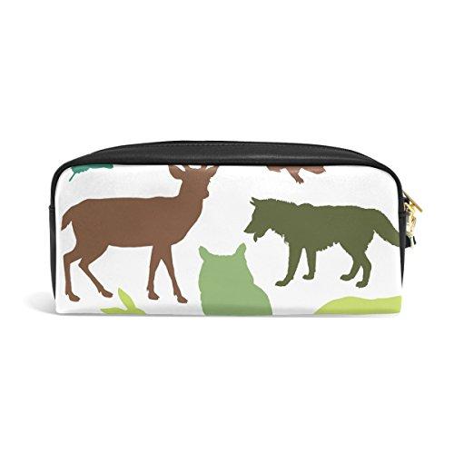 Ahomy Woodland Estuches para lápices de animales con doble cremallera grande maquillaje cosmético papelería bolsa de almacenamiento para niñas niños mujeres