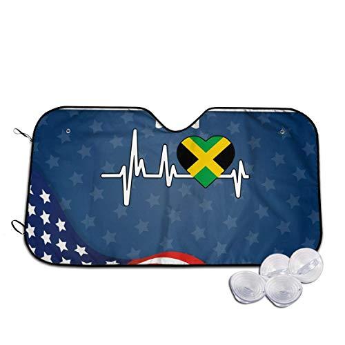 Bellaer Parasole per Auto, Jamaica Heartbeat Flag Windshield Sunshade for Car Foldable Sun Visor for Car SUV Trucks Minivans Sunshades Cools Vehicle Interio