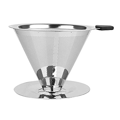 Little World Reusable Cone Coffee Filter Eco-friendly Permanent with Handle and Pour over Coffee Stand - BPA
