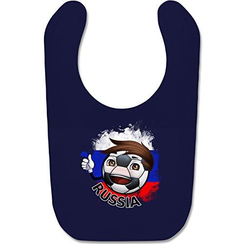 Navy Fußball-maskottchen (Shirtracer Fußball-Europameisterschaft 2020 - Baby - Fußballjunge Russland - Unisize - Navy Blau - BZ12 - Baby Lätzchen Baumwolle)