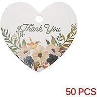 Winbang Etiquetas de papel, 50pcs le agradece las etiquetas DIY de papel de scrapbooking Etiquetas Crafts Postales de flores decoraci¨n de la boda, en forma de coraz¨n