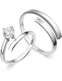 Moneekar Jewels 925 Sterling Silver Plated Couple Rings For Men & Women