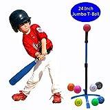 Macro Giant 24 Inch Jumbo T Ball, Tee Ball, T-Ball Set, 1 Jumbo Foam Bat, 8 Foam Baseballs, Assorted Colors, Training Practice, Youth Batting Trainer, School Playground, Kid Toy