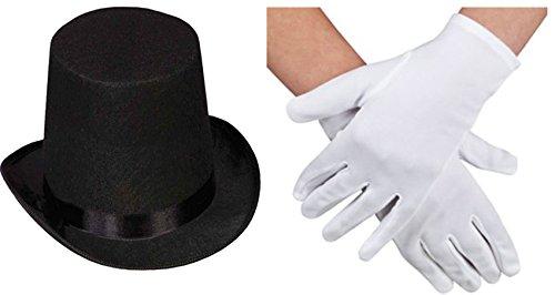 ERWACHSENE SCHWARZ ZYLINDER ZAUBERSTAB MAGICIAN WEIßE HANDSCHUHE MAGIC SET KOSTÜM - Hat+Handschuhe