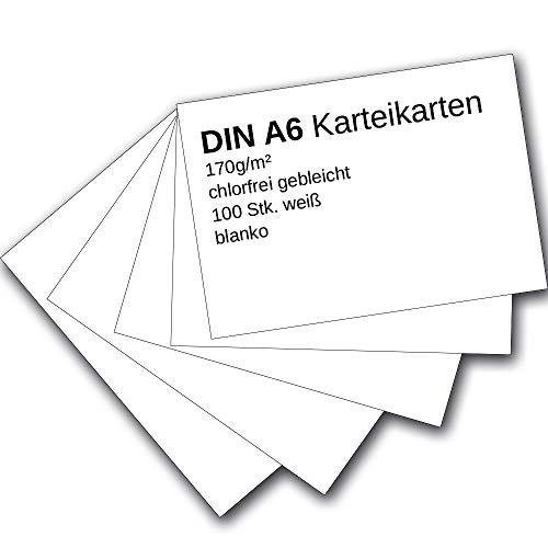 Karteikarten 100 Stück A6 weiß blanko