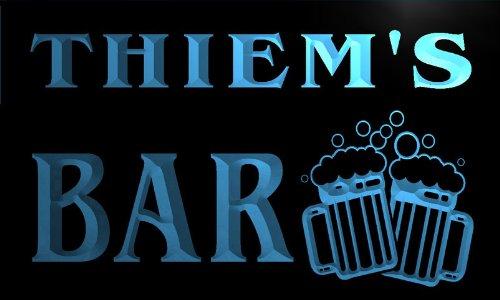 w022632-b THIEM'S Nom Accueil Bar Pub Beer Mugs Cheers Neon Sign Biere Enseigne Lumineuse