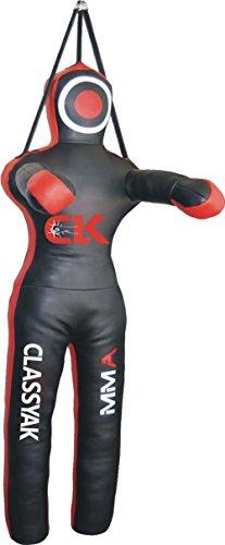 classyak Jiu Jitsu MMA Martial Arts Grappling Dummy Boxsack–ungefüllt mit Gurt zum Aufhängen, Synthetic Leather Black (Grappling Dummy)