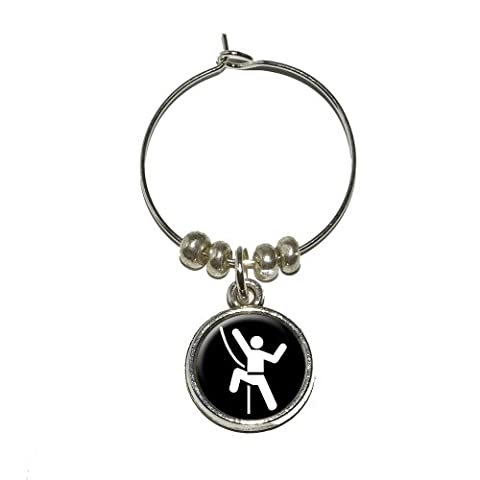 Rock Climbing Repelling Belay Wine Glass Charm Drink Stem Marker Ring by Graphics and More