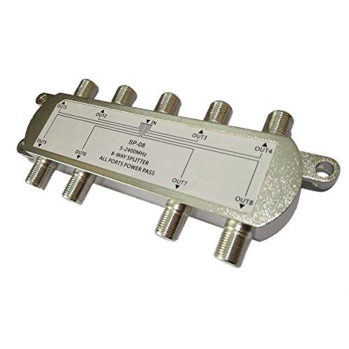 SP-08 8-Wege-Signal Satellite Splitter TV-Antenne HF-Koaxial-Kabel-Teiler WholesaleHot (Silber) 8-wege-koaxial Kabel