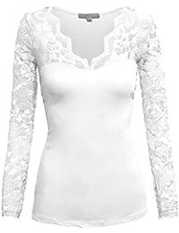 Tailliertes Top Baumwollstoff Blumen Spitze Ärmel V-Ausschnitt elegant leger Frauen Mode