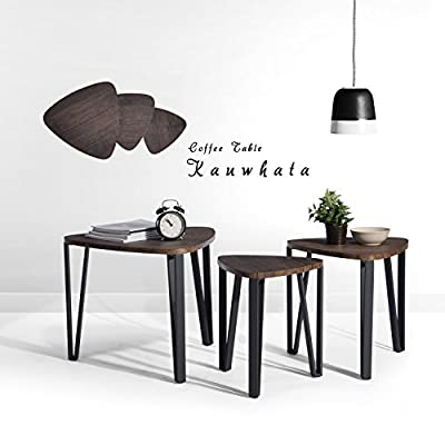 Nest of 3 Tables Wood Coffee Table Set End Side Table With Metal leg, Dark Brown - inexpensive UK light shop.