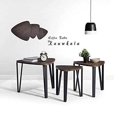 Nest of 3 Tables Wood Coffee Table Set End Side Table With Metal leg, Dark Brown