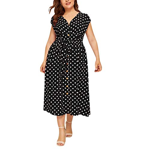 UOWEG Kleid für Damen Casual Plus Size V-Ausschnitt ärmellose Polka Dot Printed Button Belt Kleid