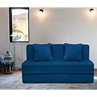 Aart Store High Density Foam Sofa Cum Bed Furniture for 2 Person with 2 Cushions (Blue)