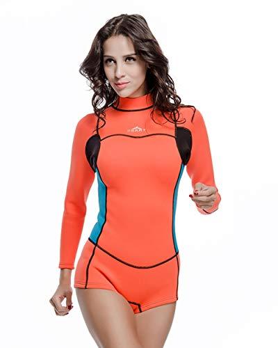 Damen Einteiliger 2mm Neoprenanzug, Lange Ärmel Zurück Reißverschlussanzug Zum Tauchen Schnorcheln Surfen Kajak Fahren,Orange,M