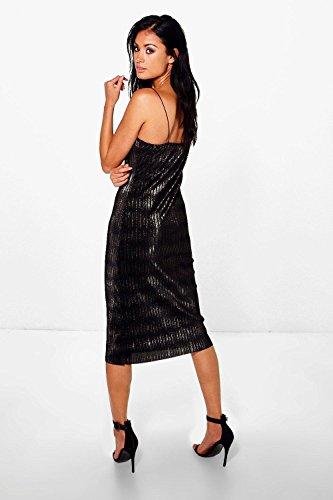 Bronze Femme Dehlia Metallic Pleat Fine Strap Slip Dress Bronze