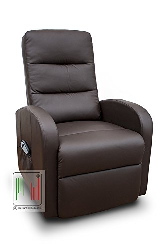 Stil sedie poltrona recliner reclinabile alzapersona in eco pelle con telecomando con 4 rotelle, con tasca laterale modello sofia (marrone)