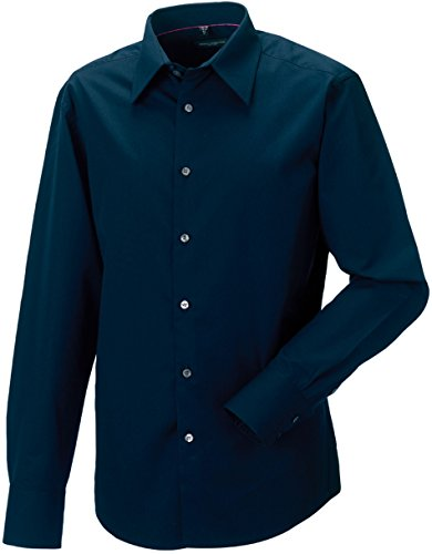 Russell Collection - Chemise homme cintrée manches longues en tencel Russel Navy